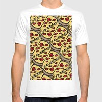 Pattern Pizza Mens Fitted Tee White SMALL