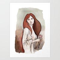 Brunette In Drapery Art Print