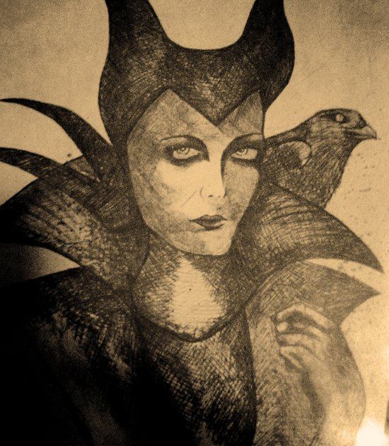 maleficent sketch Canvas Print