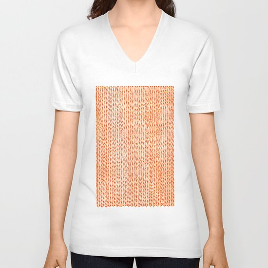 Stockinette Orange V-neck T-shirt