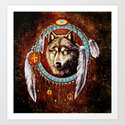 Indian Native Stark Clan Wolf Dream Catcher iPhone 4 4s 5 5s 5c, ipod, ipad, pillow case and tshirt Art Print