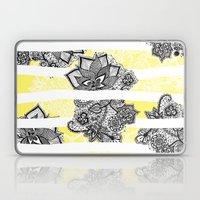Modern black white henna paisley floral lace bright yellow Laptop & iPad Skin