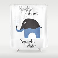 Naughty Elephant Squirts Water. Shower Curtain
