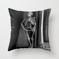 The Skeleton by the Printer Throw Pillow