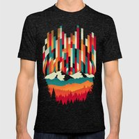 Sunset in Vertical Multicolor Mens Fitted Tee Tri-Black SMALL