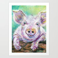 Baby Pig Looking Out the Pen Art Print