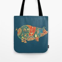 Painted Pig Tote Bag