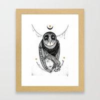 bird women Framed Art Print