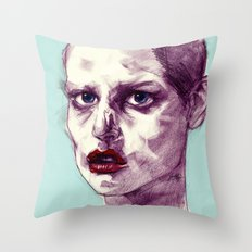 Scary Dirty Face with Red Lips Throw Pillow