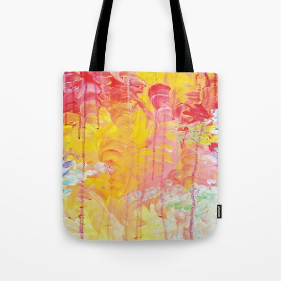 SUN SHOWERS - Beautiful Pastel Coloful Rain Clouds Bright Sky Abstract Acrylic Painting Tote Bag