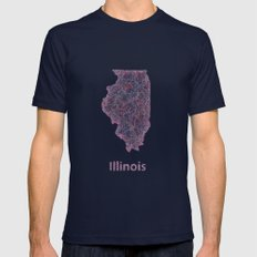 Illinois Mens Fitted Tee Navy SMALL