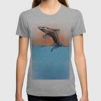 Breaching Whale Womens Fitted Tee Athletic Grey SMALL