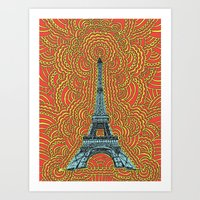Eiffel Tower Drawing Med… Art Print
