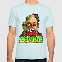 ZOMBIE title with zombie head Mens Fitted Tee Light Blue SMALL