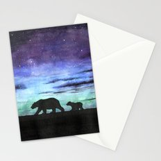 Aurora borealis and polar bears (black version) Stationery Cards