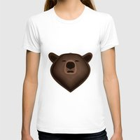 Camouflage gradient bear selfie Womens Fitted Tee White SMALL