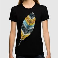 Starlight Feather Womens Fitted Tee Black SMALL