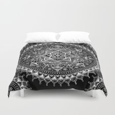 White Flower Mandala on Black Duvet Cover