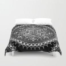 White Flower Mandala on Black Duvet Cover