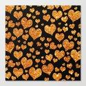 Valentine's | Girly Gold Glitter Cute Love hearts Pattern Black Canvas Print
