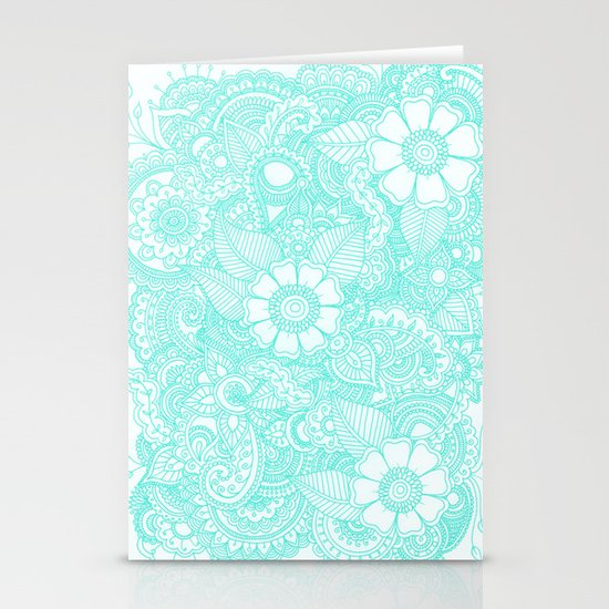 Henna Design - Aqua Stationery Card