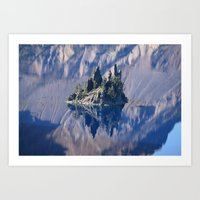 Ghost Ship, Creepy Crater Lake Art Print