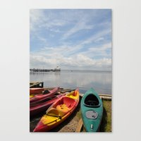 Bay Landscape with Canoe  Canvas Print