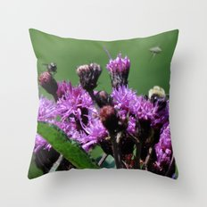 Violet Flowers Bee Photo Photograph 1  Throw Pillow