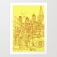 London! Yellow/Red Art Print