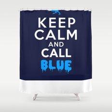 Keep Calm and Call Blue | Jurassic Raptor Dinosaur Shower Curtain