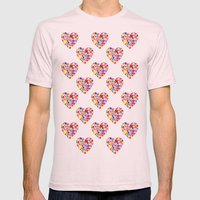 Rainbow Heart Pattern Mens Fitted Tee Light Pink SMALL