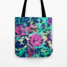 Fruity Rose - Fancy Colorful Abstraction Pattern Design (green pink blue) Tote Bag