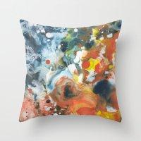 Color Commentary #13: Gone Snorkeling (Prussian Blue & Orange) [Lise Bjerregaard Nielsen] Throw Pillow