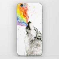 Wolf Rainbow Watercolor Howling iPhone & iPod Skin
