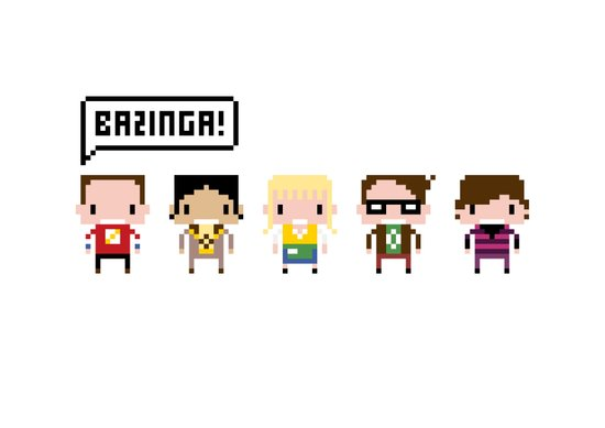 The Big Bang Theory Pixel Characters Art Print