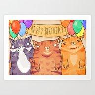 Birthday Cats! Art Print