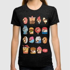 Puglie Food 3 Womens Fitted Tee Tri-Black SMALL