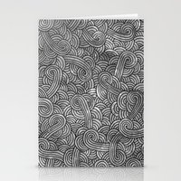 Grey And Black Doodles Stationery Cards