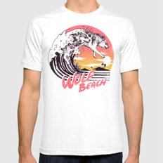 Wolf Beach Mens Fitted Tee White SMALL