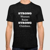 Strong Women - Pink.  Mens Fitted Tee Tri-Black SMALL