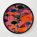 multicoloured flamingos Wall Clock