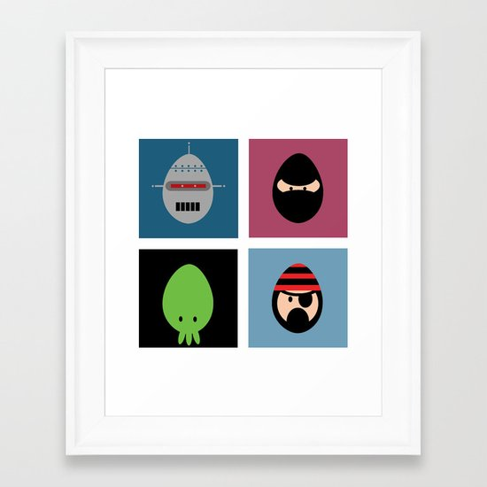 Robot Ninja Cthulhu Pirate Framed Art Print