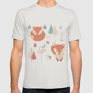 Baby Fox Pattern 01 Mens Fitted Tee Silver MEDIUM