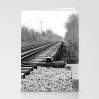 Railroad Tracks Black and White Photography Stationery Cards