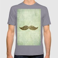 Vintage Stache Mens Fitted Tee Slate SMALL