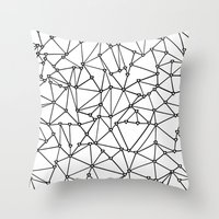 Abstract Heart Black on White Throw Pillow