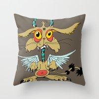 Evil Flying Feline Jacka… Throw Pillow
