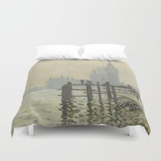 The Thames below Westminster by Claude Monet Duvet Cover