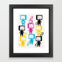 Four Colour Block Heads Framed Art Print