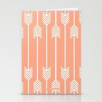 Peach And White Arrows Stationery Cards